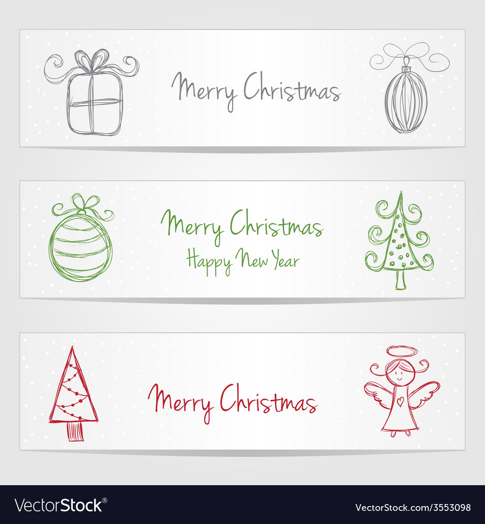 Banners with christmas doodles vector | Price: 1 Credit (USD $1)