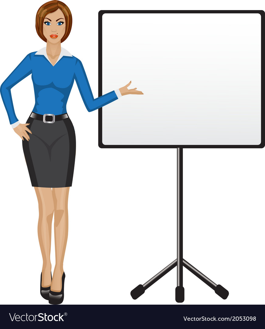 Business woman holds presentation vector | Price: 1 Credit (USD $1)