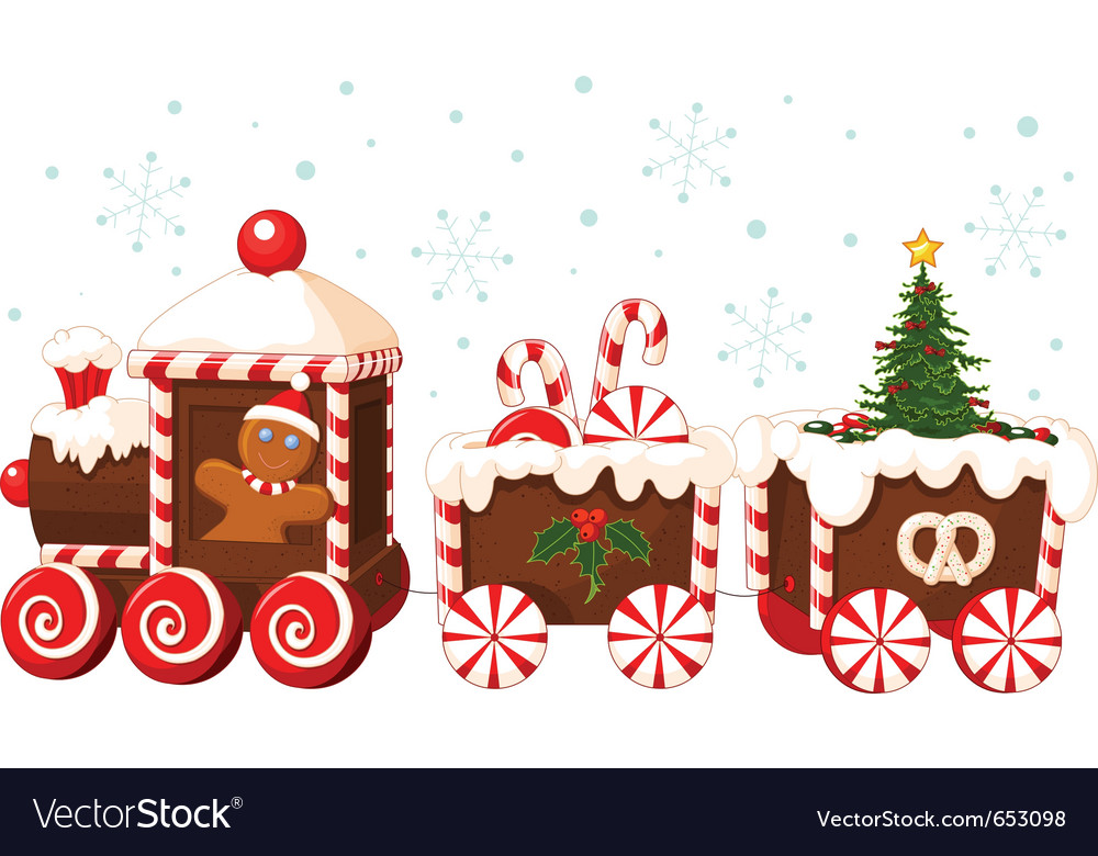 Christmas train made of gingerbread vector | Price: 3 Credit (USD $3)