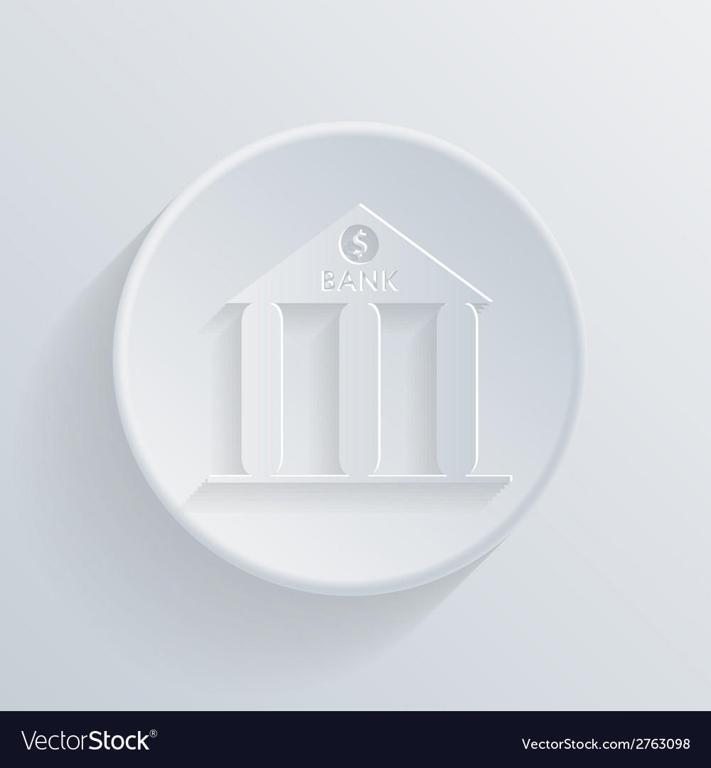 Circle icon with a shadow bank building vector | Price: 1 Credit (USD $1)
