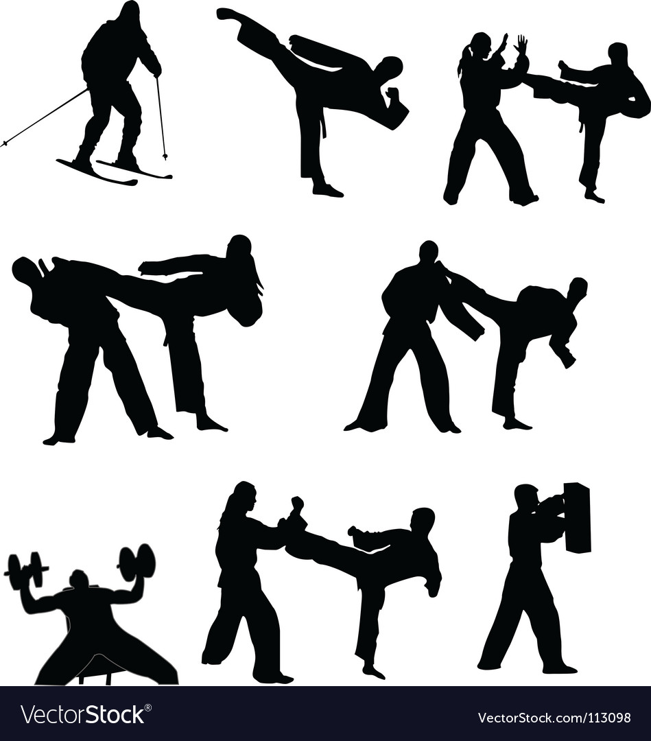 Fighting silhouettes vector | Price: 1 Credit (USD $1)