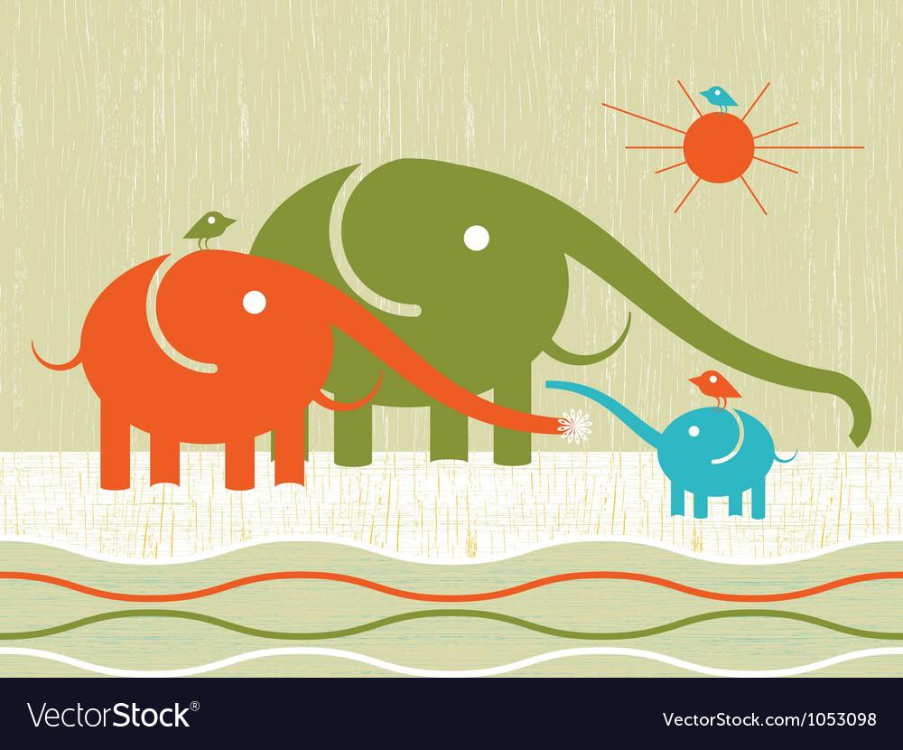 Happy elephants vector