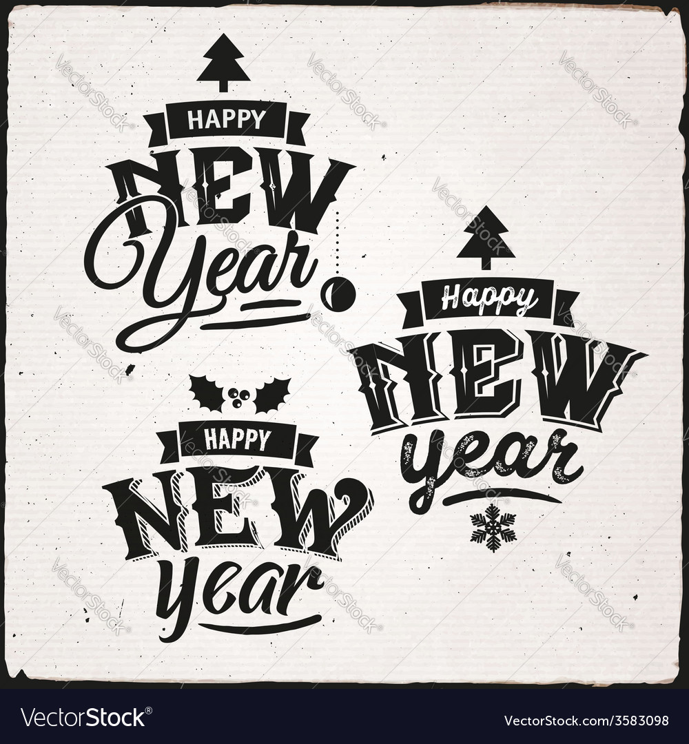 Happy new year set of typographic design vector | Price: 1 Credit (USD $1)