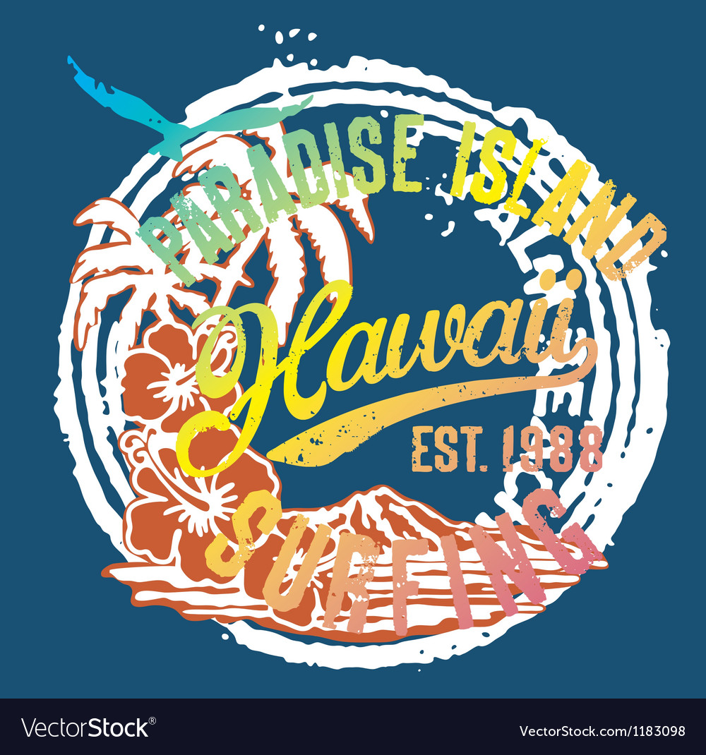 Hawaii the paradise islands vector