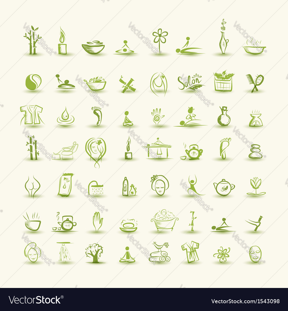 Massage and spa set of icons for your design vector | Price: 1 Credit (USD $1)