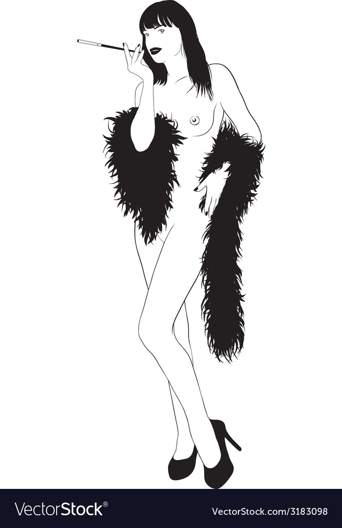 Nude girl in boa vector | Price: 1 Credit (USD $1)