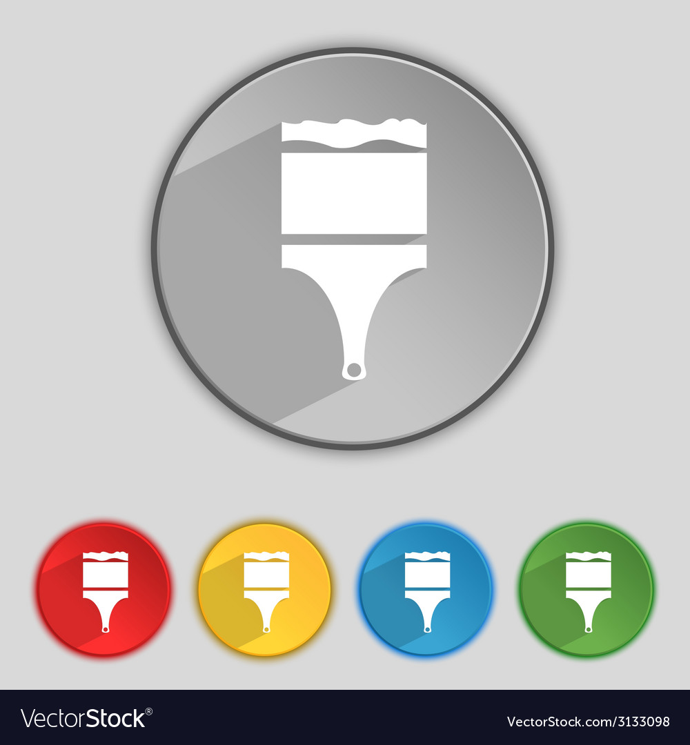 Paint brush sign icon artist symbol set of colored vector   Price: 1 Credit (USD $1)