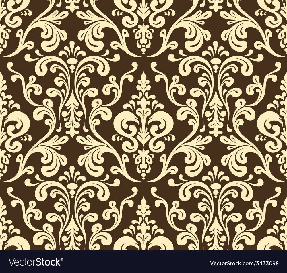 Seamless elegant damask pattern golden colors vector | Price: 1 Credit (USD $1)