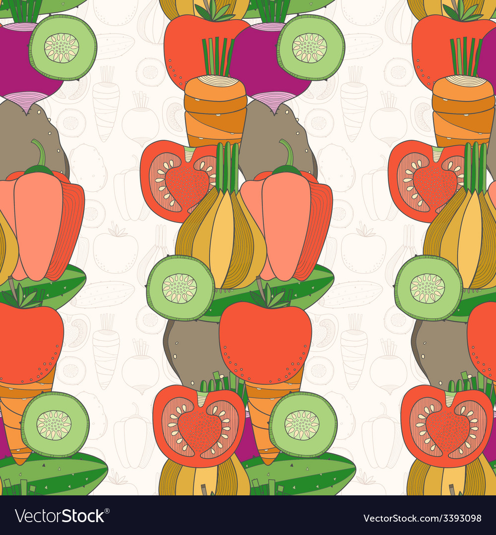 Seamless pattern of vegetables vector | Price: 1 Credit (USD $1)