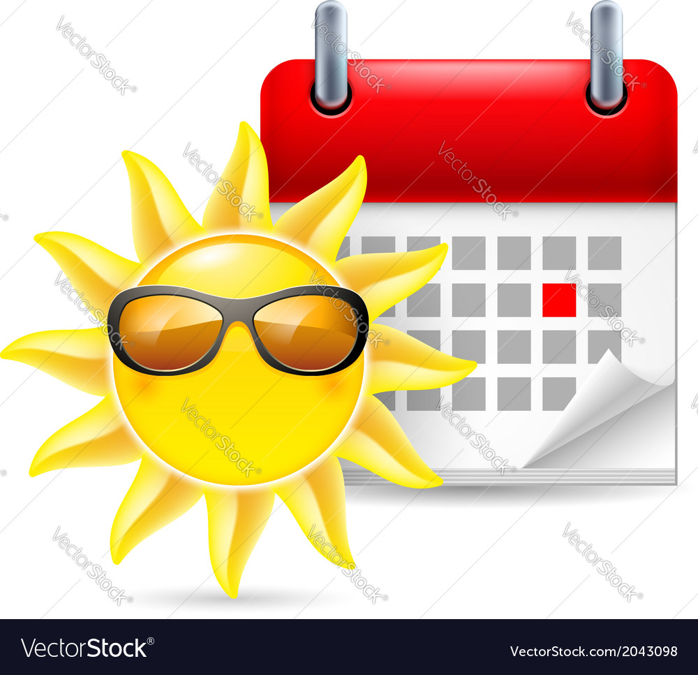 Sun and calendar vector | Price: 1 Credit (USD $1)