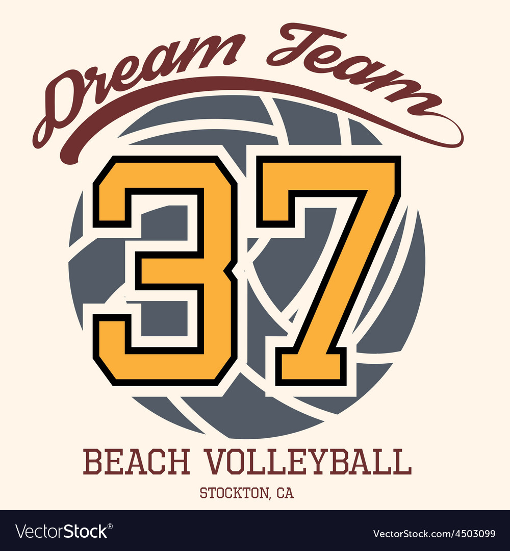 Beach volleyball team t-shirt typography vector | Price: 1 Credit (USD $1)