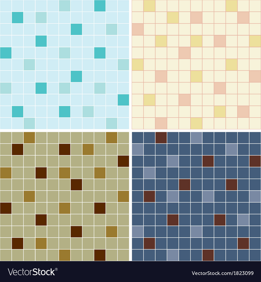 Collection of mosaic tile seamless patterns vector | Price: 1 Credit (USD $1)