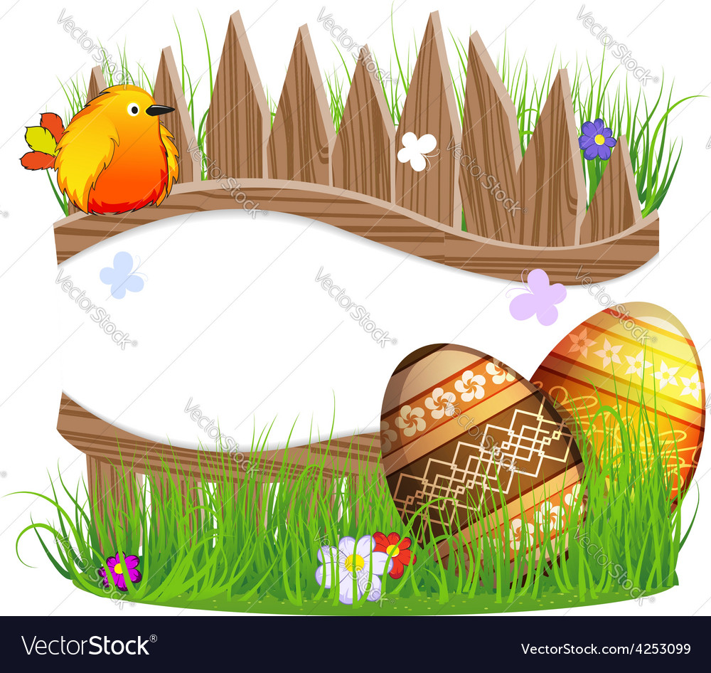 Little bird and easter eggs vector | Price: 3 Credit (USD $3)