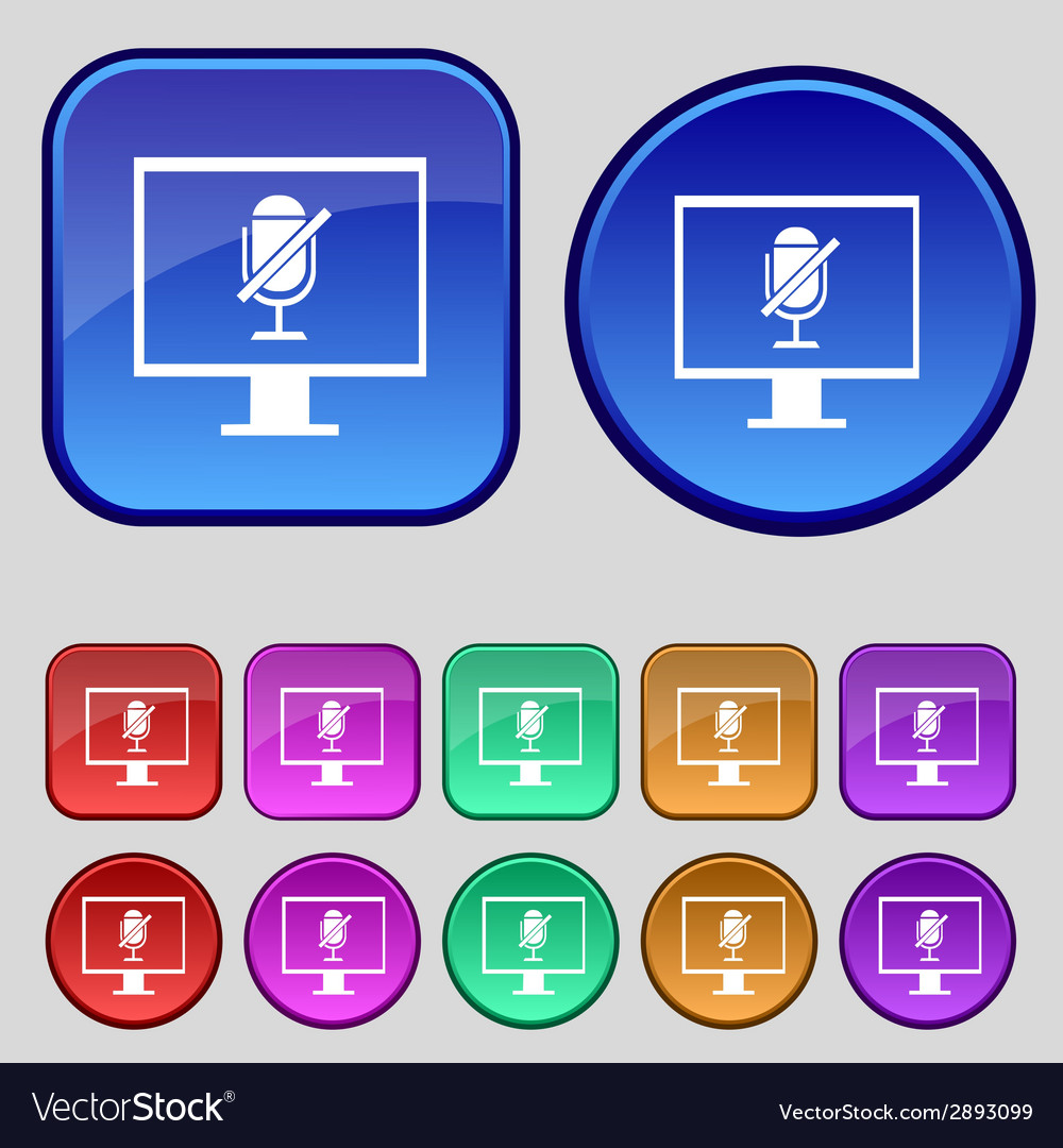 No microphone sign icon speaker symbol set vector | Price: 1 Credit (USD $1)