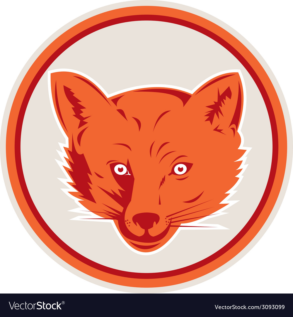 Red fox head front circle retro vector | Price: 1 Credit (USD $1)