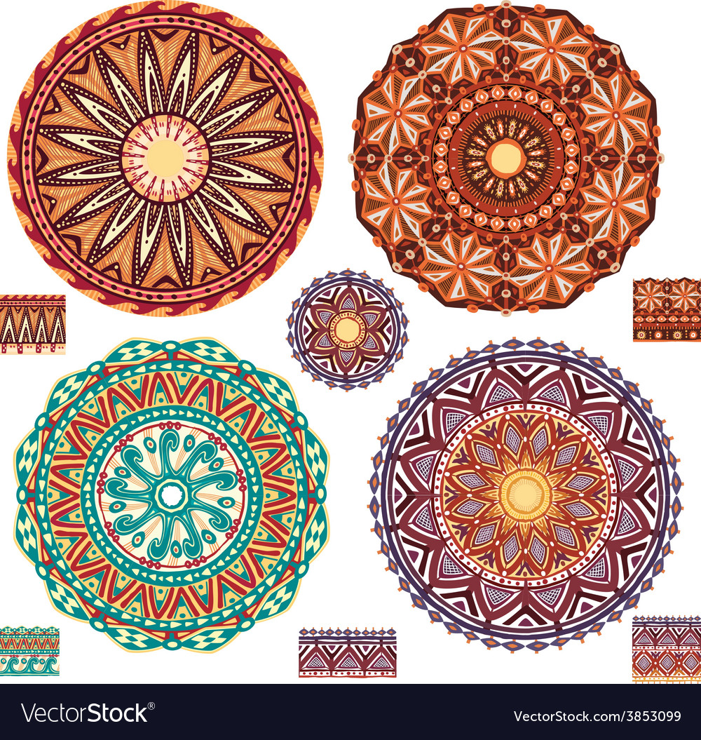 Round ornamental geometric patterns vector | Price: 1 Credit (USD $1)