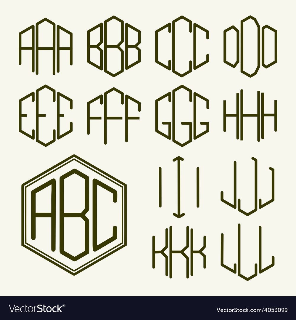 Set 1 template letters to create a monogram vector | Price: 1 Credit (USD $1)