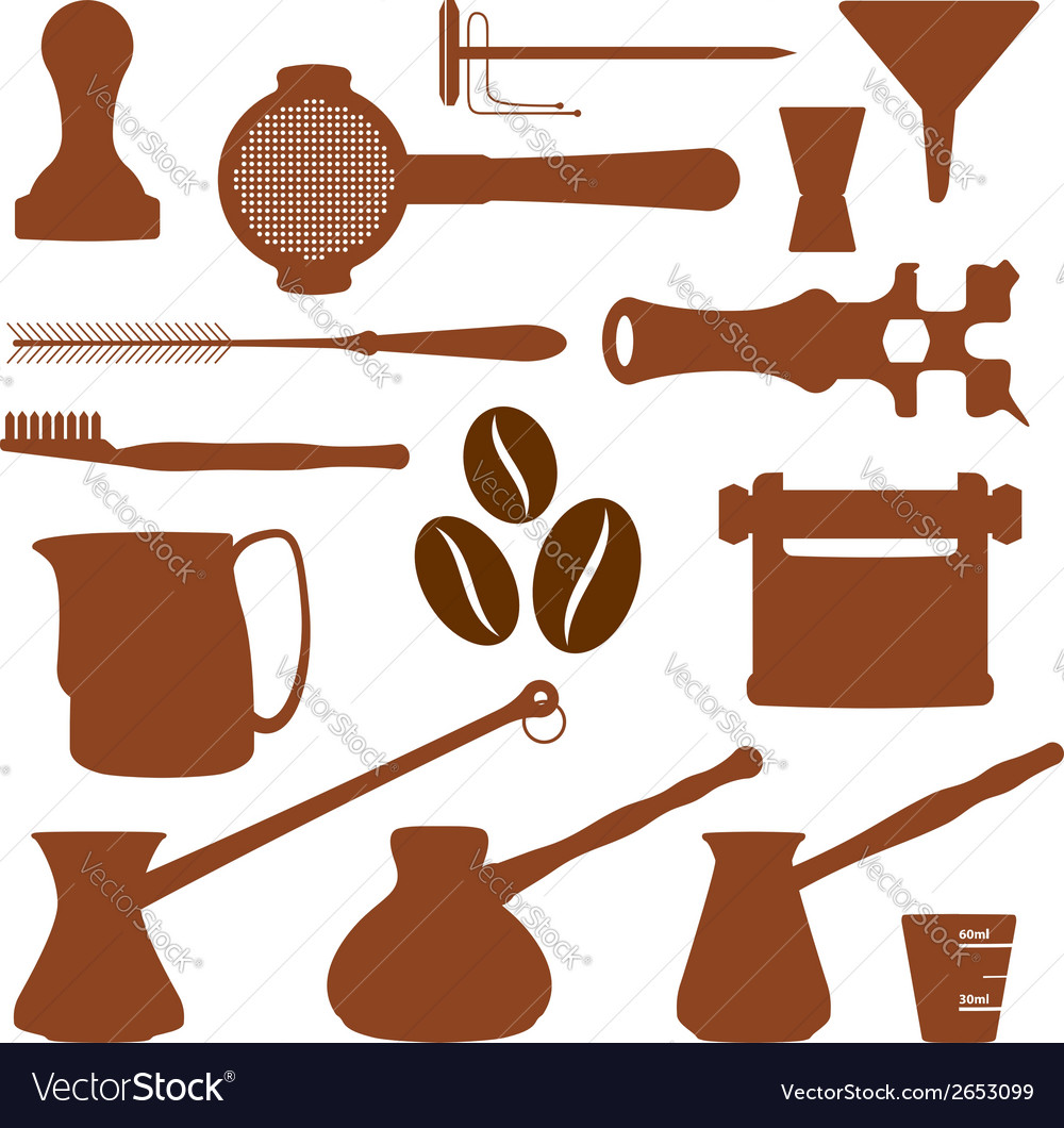 Solid colors coffee set instruments vector | Price: 1 Credit (USD $1)