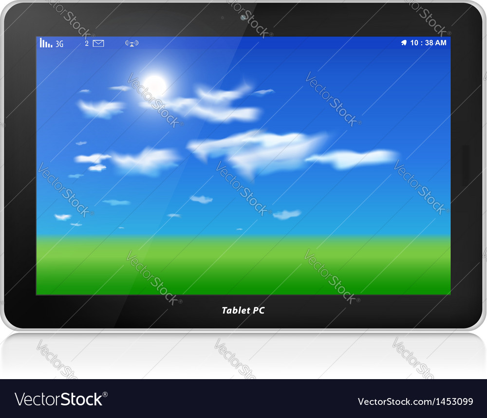 Tablet pc horizontal blue sky background vector | Price: 1 Credit (USD $1)
