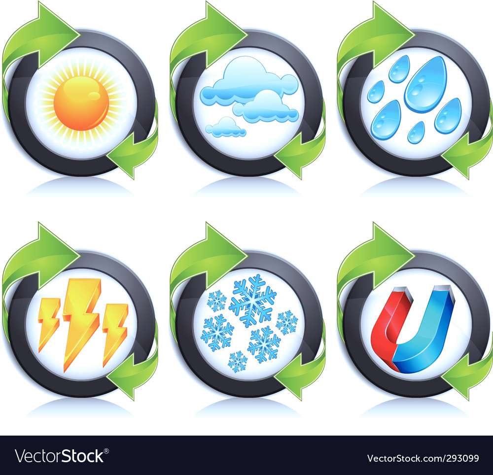 Weather round icons amp arrow vector | Price: 1 Credit (USD $1)