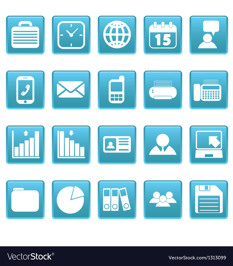 White business icons on blue squares vector | Price: 1 Credit (USD $1)