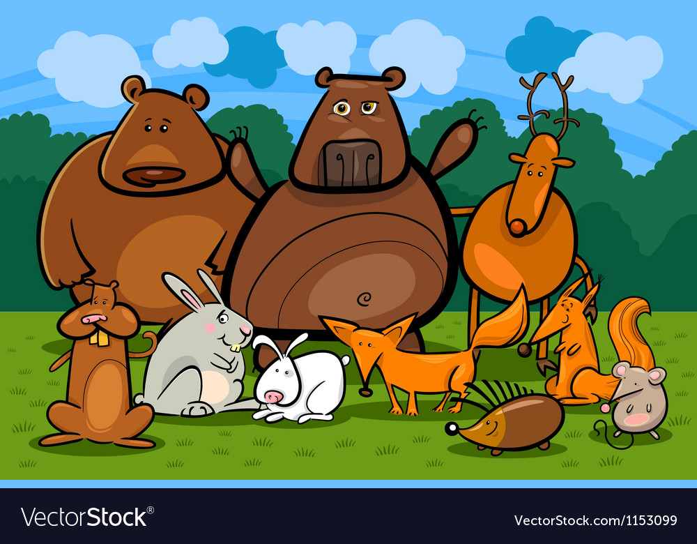 Wild forest animals group cartoon vector | Price: 1 Credit (USD $1)