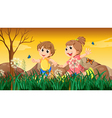A girl and a boy playing with the butterflies vector