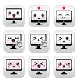 Japanese cute kawaii character - computer buttons vector