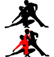Silhouettes of dancing couples vector