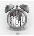Metal classic style alarm clock vector