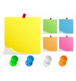 Paper notes with push pins vector