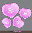 Heart pink with icons vector