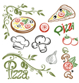 Pizza set italian food vector