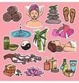 Spa sketch icons color vector
