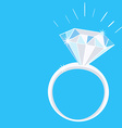 Engagement diamond ring with sparkles on blue vector