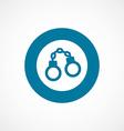 Handcuffs bold blue border circle icon vector