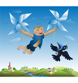 Imaginations of the little boy flying on revolving vector