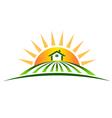 Farm house with sun logo vector