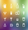 White drink icons clip-art on color background vector