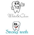 Happy smiling cartoon teeth for logo or emblem vector