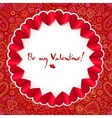 Red circle valentines day greeting card template vector