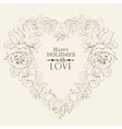 Heart of red rose isolated on beige vector