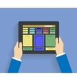 Businessman hands holding modern digital tablet vector