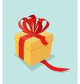 Cartoon gift box with ribbon bow and blank tag vector