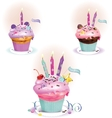 Birthday dessert with candles vector
