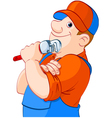 Cartoon of a plumber holding a spanner vector