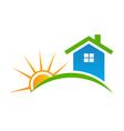 Style house with sun logo vector
