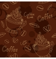 Seamless pattern with cup coffee beans and blots vector