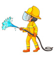 A simple drawing of a firefighter vector
