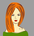 Posh red hair girl with red lipstick in g vector